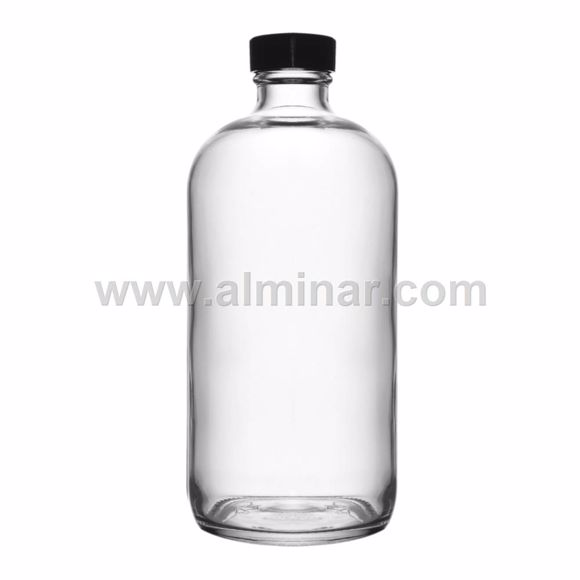 Picture of 60 Pcs - Boston Round 16 oz Clear Glass Bottles With Poly Cone Lined Black Cap
