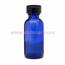 Picture of Boston Round 1 oz Cobalt Blue Glass Bottles With Poly Cone Lined Black Caps
